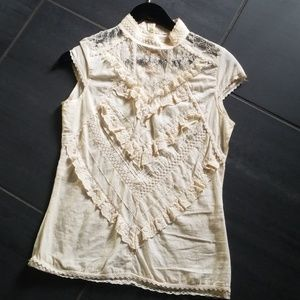 Cotton Voile Bohemian Top with Lace and Crochet